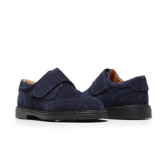 Boys' Navy Suede Velcro Brogue Loafers