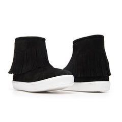 Girls' Black Suede Fringe Booties with White Soles