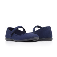 Girls' Childrenchic® canvas Mary Janes in navy blue