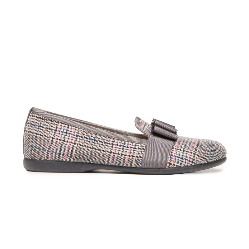 Girls' Childrenchic® Plaid and Grosgrain Bow Loafers