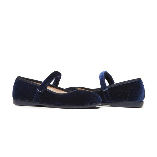 Girls' Childrenchic® Classic Navy Velvet Mary Janes
