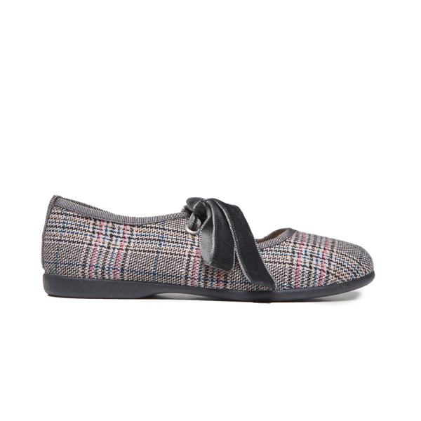 Girls' Childrenchic® Plaid and Velvet Ribbon Flats