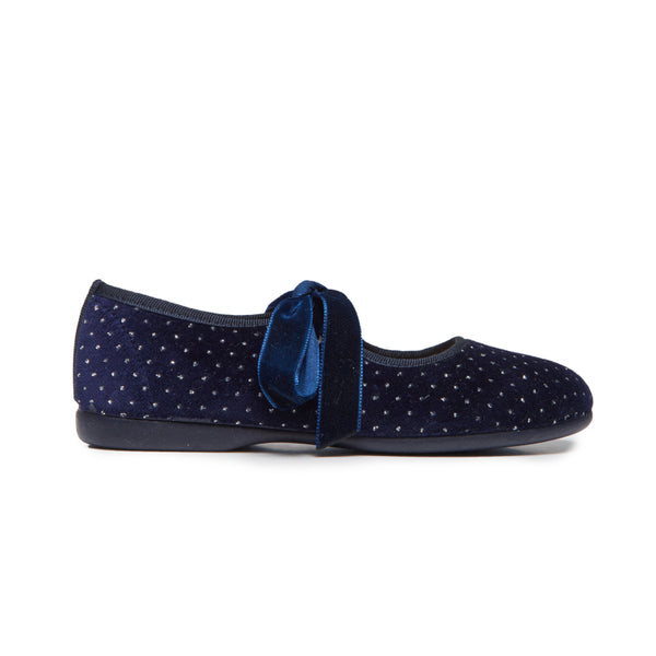 Girls' Childrenchic® Navy Twinkle Velvet Ribbon Mary Janes
