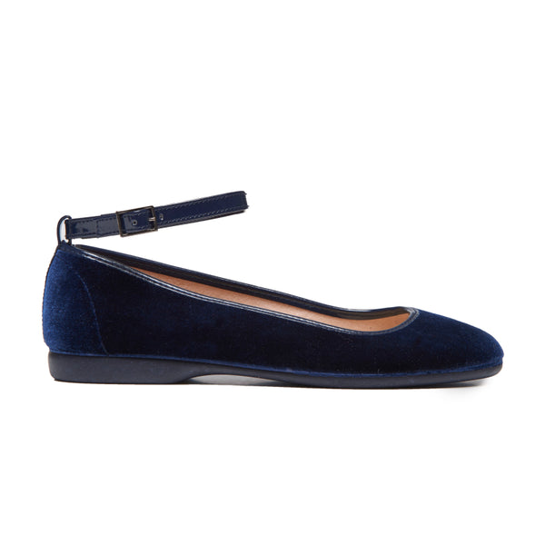 Girls' Childrenchic® Navy Velvet Ankle Strap Ballet Flats