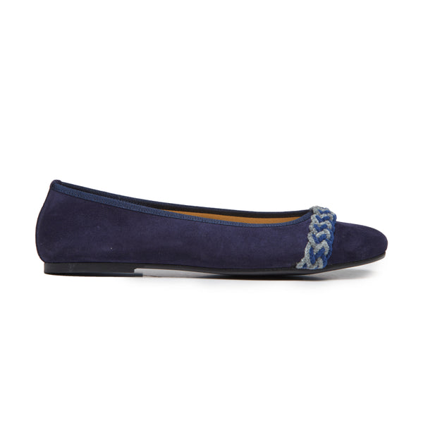 Girls' Childrenchic® Navy Suede and Chenille Braided Ballerinas