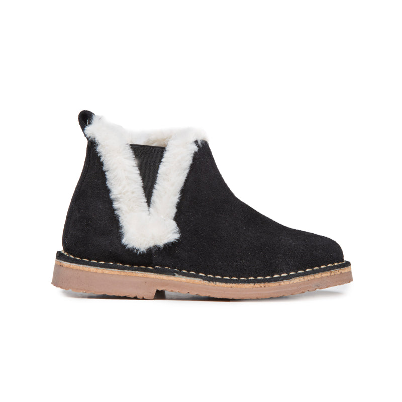 Girls' Childrenchic® Black and White Furry Ankle Boots