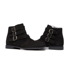 Girls' Childrenchic® Black Suede Tri-Buckle Ankle Boots