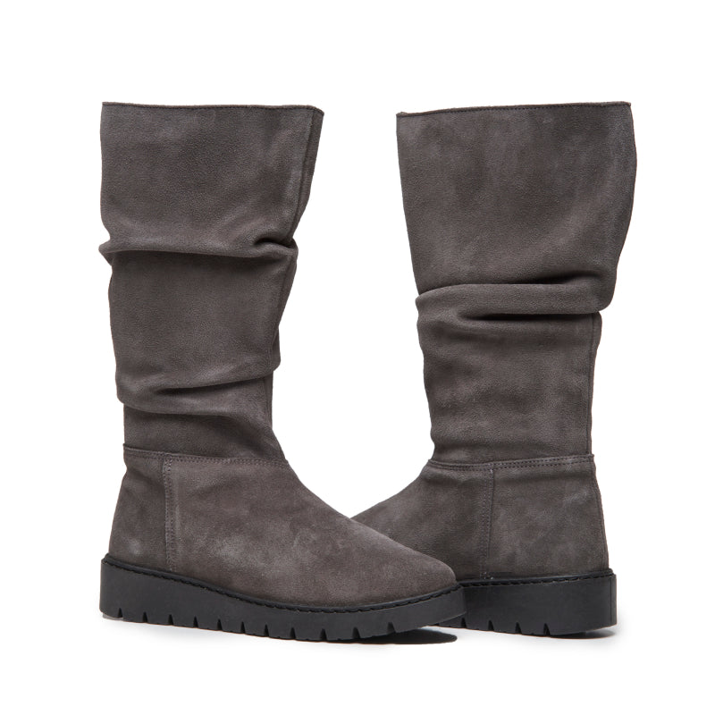 Girls' Childrenchic® Grey Suede Ruched Boots
