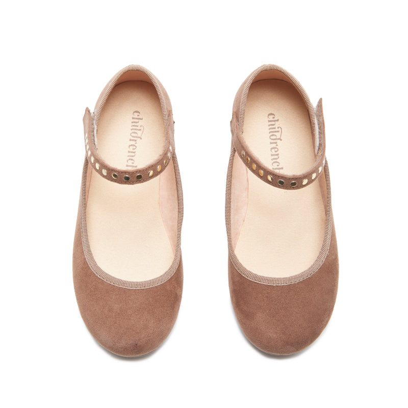 Girls' Childrenchic® Camel Suede Mary Janes with Studs
