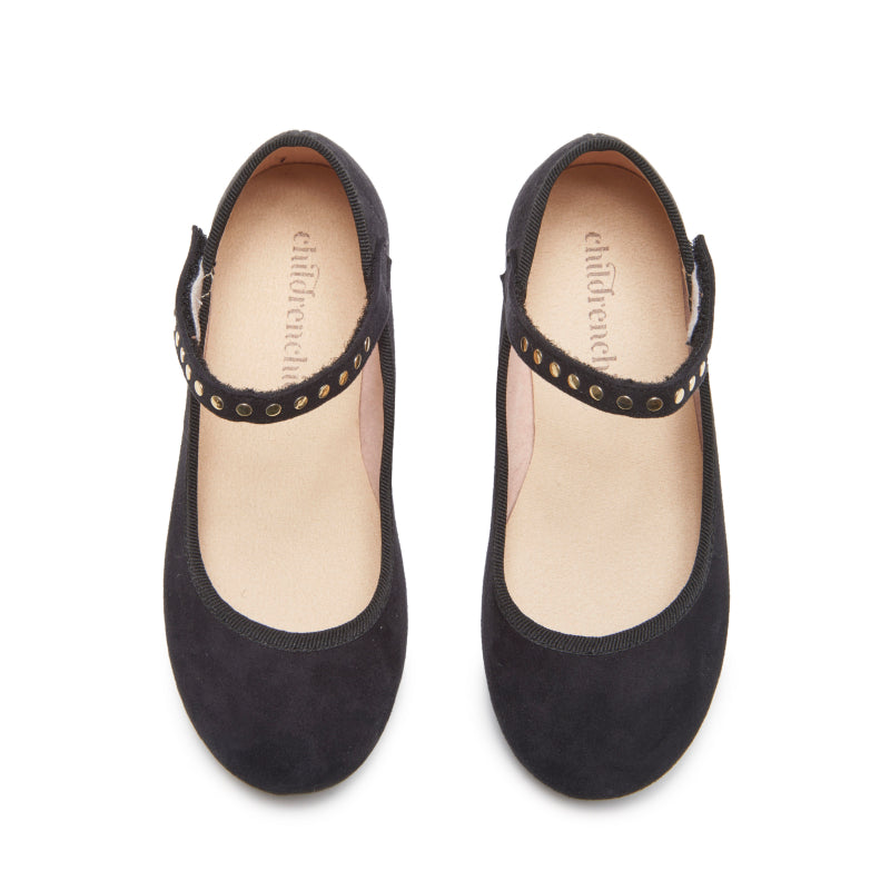 Girls' Childrenchic® Black Suede Mary Janes with Studs
