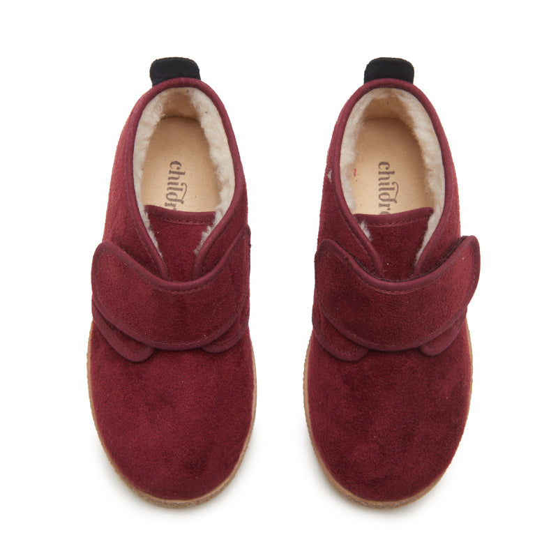 Childrenchic® Burgundy Suede McAlister Booties with Faux Shearling