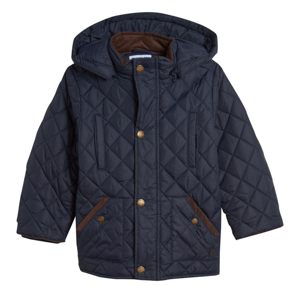 Boys' Quilted Weatherproof Jacket with Faux Shearling Lining