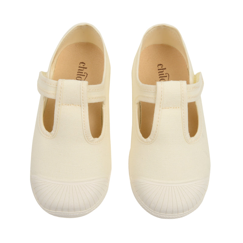 Girls' Childrenchic® canvas T-bar captoe shoes in ivory
