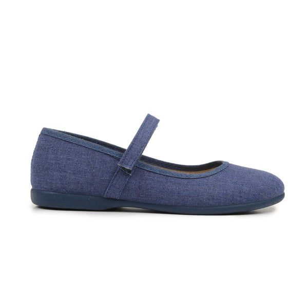 Girls' Childrenchic® canvas Mary Janes in denim blue
