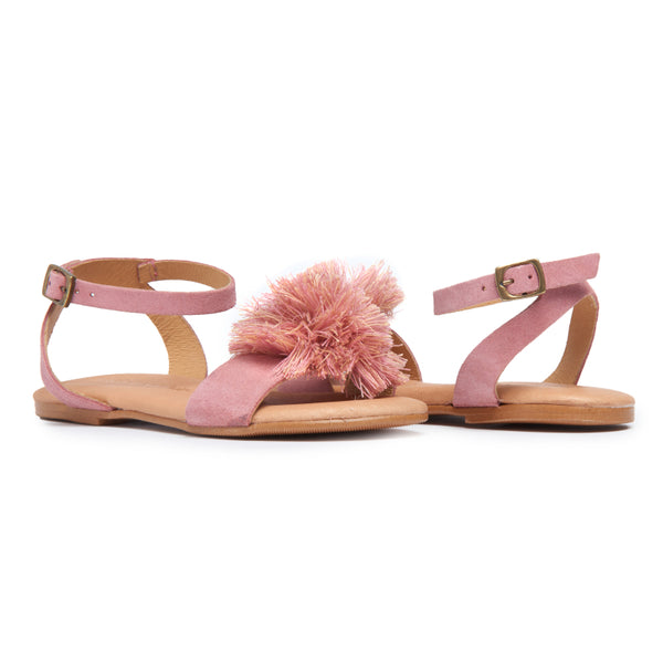 Girl's Childrenchic® Suede Pom-Pom Fringe Sandals in Rosewood