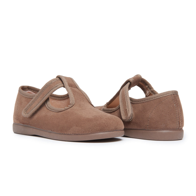 Childrenchic® Tan Suede T-band Shoes