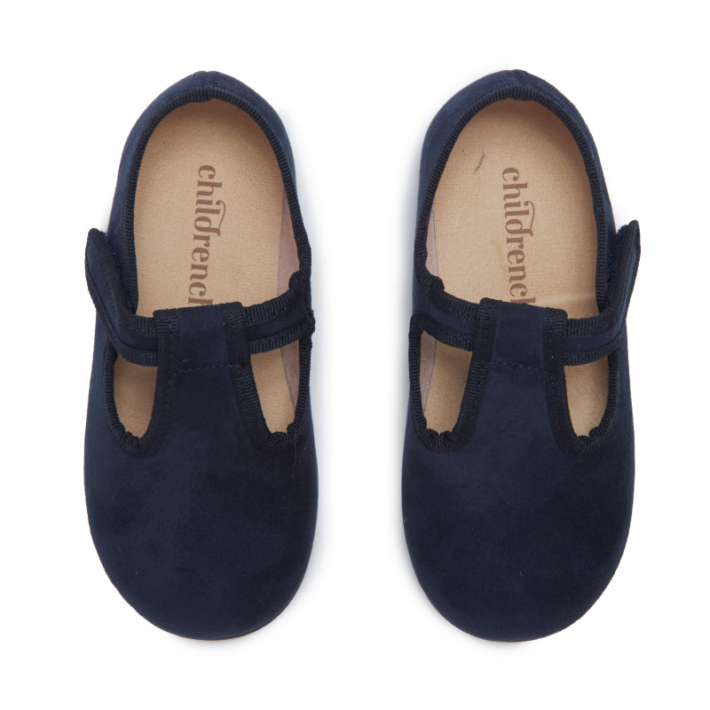 Childrenchic® Navy Suede T-band Shoes