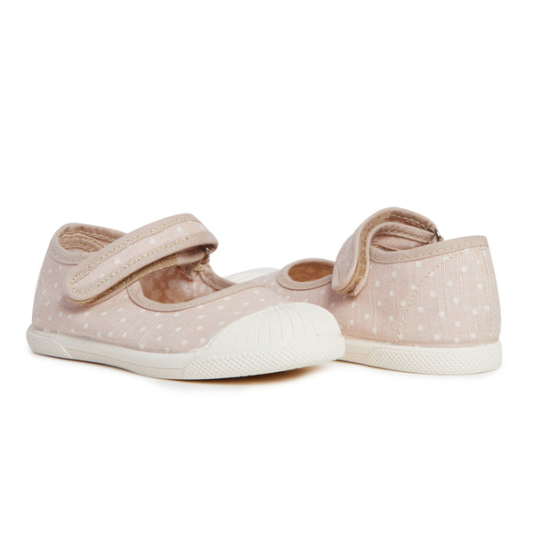 Zapatillas Mary Jane Captoe de lona Childrenchic® para niña con lunares taupe