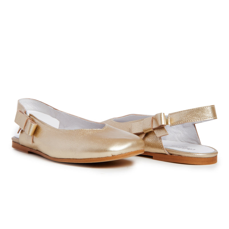 Girls' Childrenchic® Leather Slingback Ballet Flats in Gold