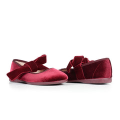 Girls' Wine Velvet Lace-Up Ribbon Ballerinas