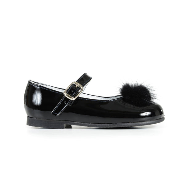 65dcf85df8df Girls  Black Patent and Fur Pom-Pom Mary Janes
