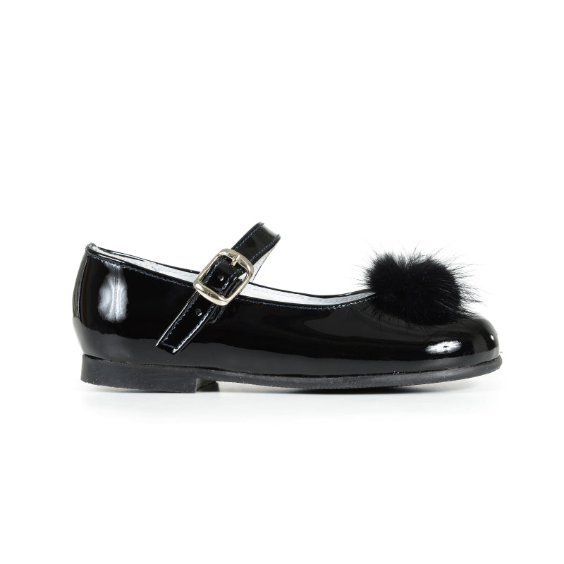 Girls' Black Patent and Fur Pom-Pom Mary Janes