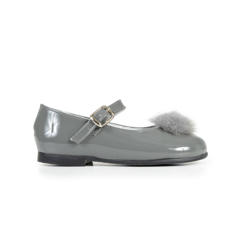 Girls' Grey Patent and Fur Pom-Pom Mary Janes