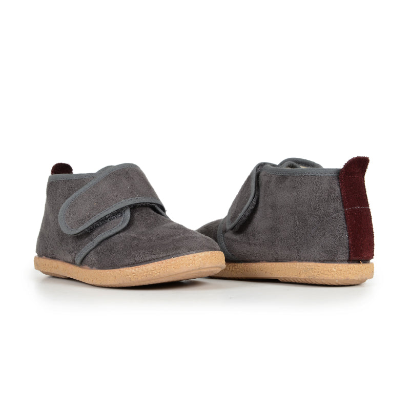 Unisex Grey Suede McAlister Velcro Booties with Wine Tabs