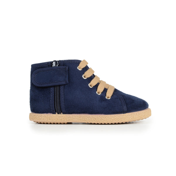Childrenchic® Navy Suede Lace-Up McAlister Booties with Zipper