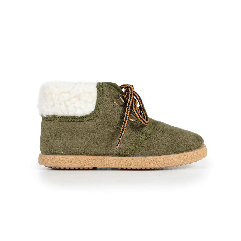 Olive Suede MacAlister Booties with Faux-Shearling
