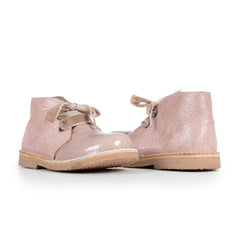 Girls' Pale Pink Patent and Shimmer Booties with Velvet Laces