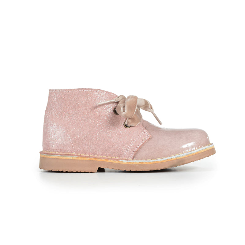 Girls' Pale Pink Patent and Glitter Booties with Velvet Laces
