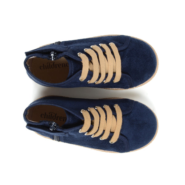 Unisex Navy Suede Lace-Up McAlister Booties with Zipper