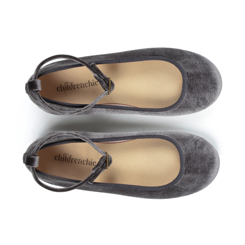 Girls' Grey Velvet Ankle Strap Ballet Flats