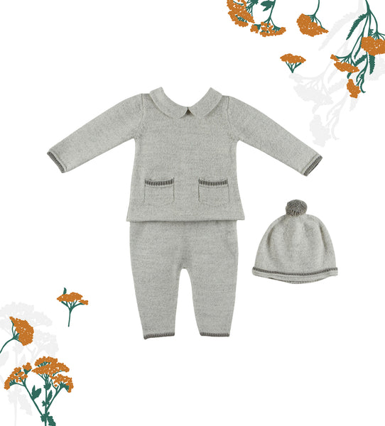 Baby Soft Grey and Celeste Knitted 3-piece Set