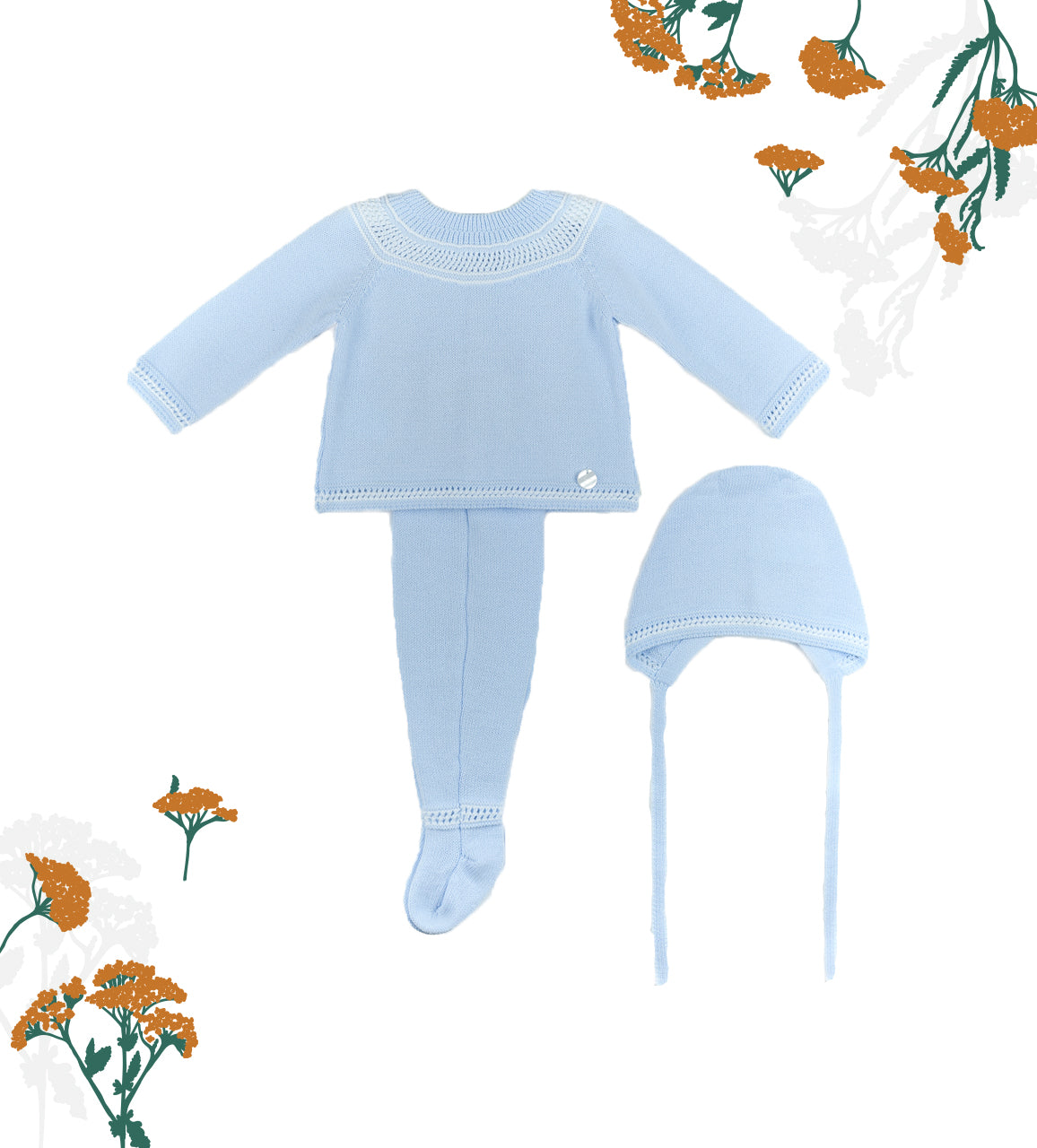 Comfy Knitted Baby Blues 3 Piece Set