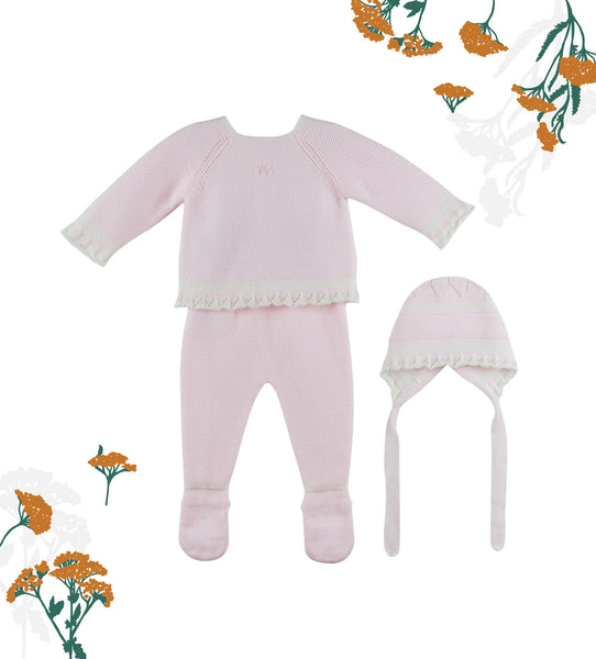 Chic Pink Baby Girl Knit 3-piece Set