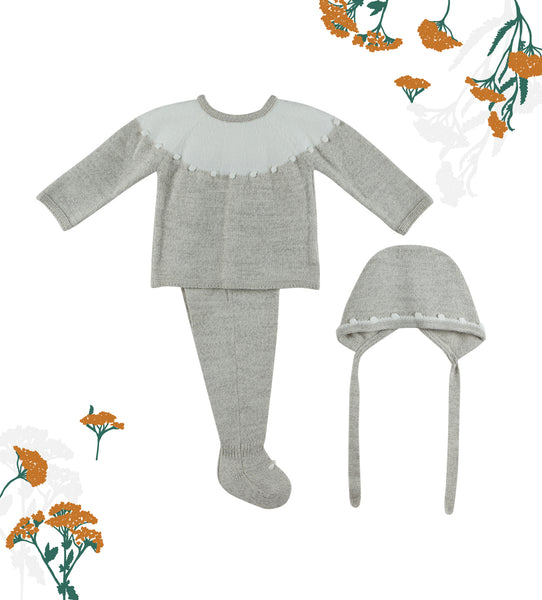 Oatmeal Baby Knit 3-piece Set