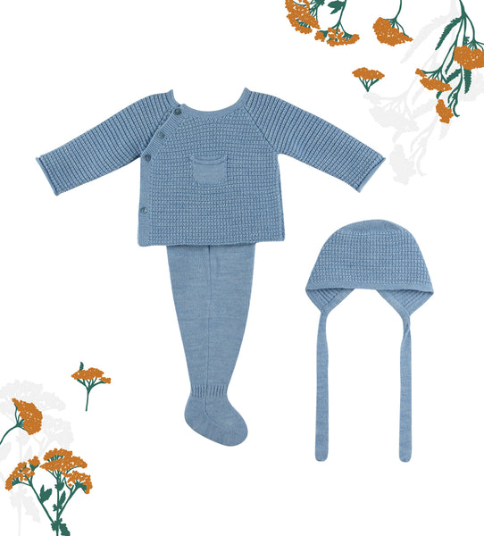 Knitted Indigo Baby Boy 3-piece Set