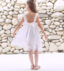 Girls' White Lace Scales Sundress