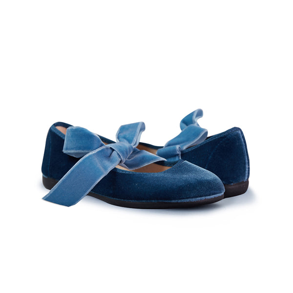 Girl's Blue Velvet Lace-up Ribbon Ballerinas