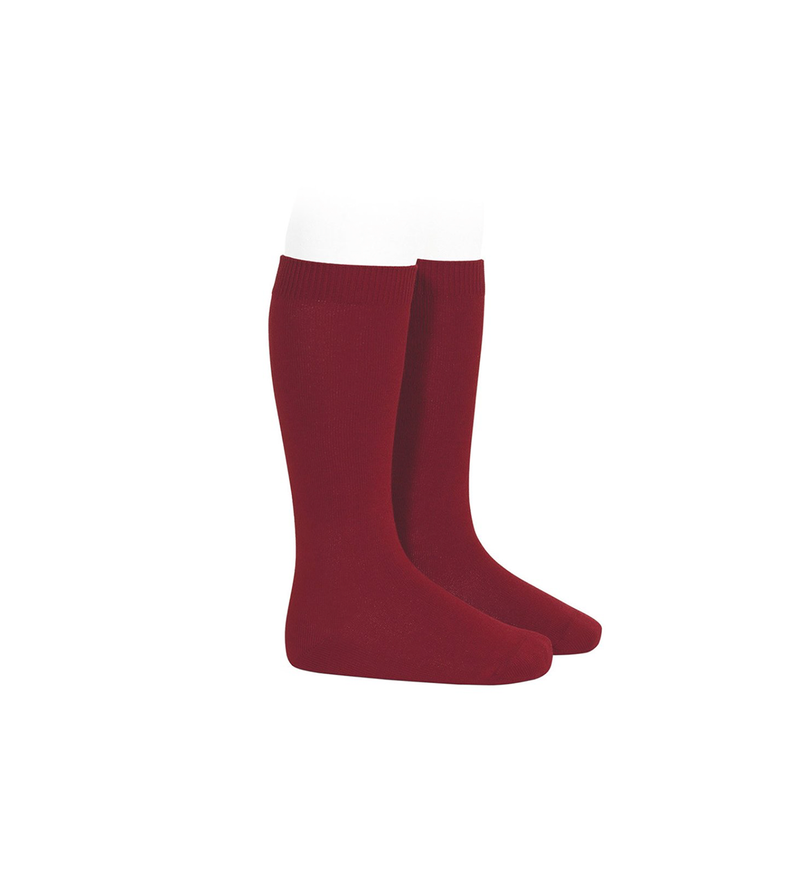 Plain Stitch Knee High Socks in Ruby