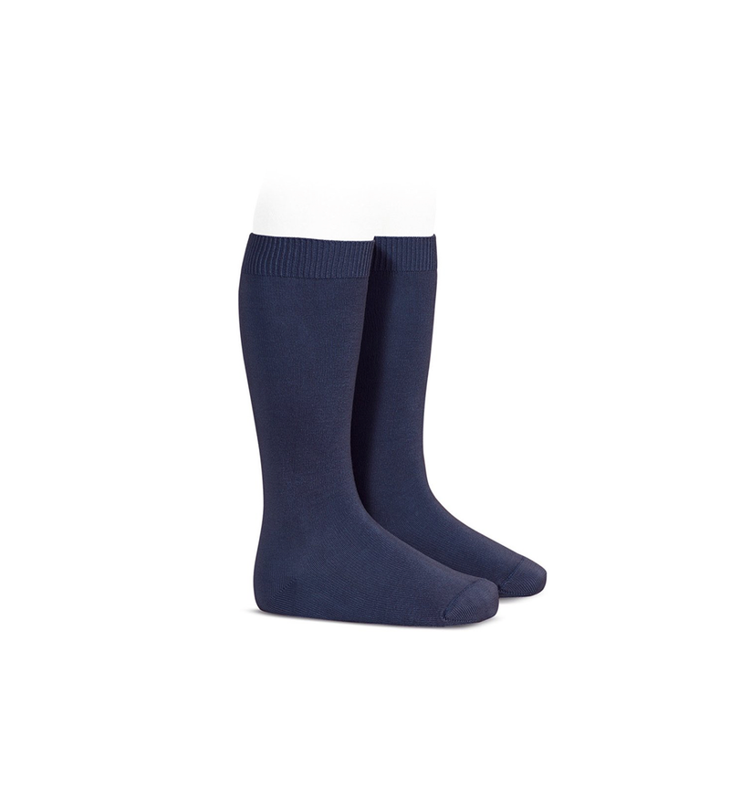 Plain Stitch Knee High Socks in Navy