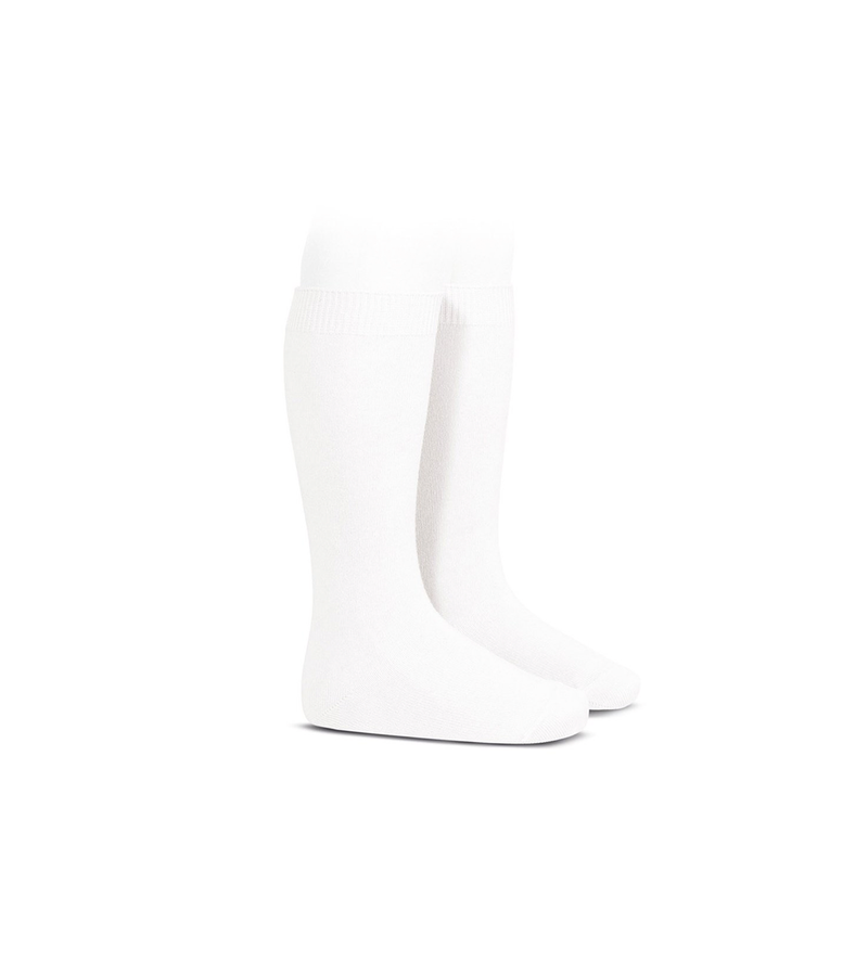 Plain Stitch Knee High Socks in White
