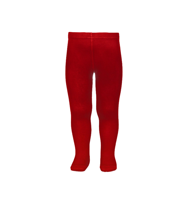 Girl's Plain Stitch Red Tights