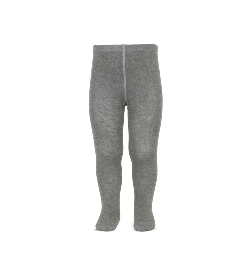 Girl's Plain Stitch Grey Tights