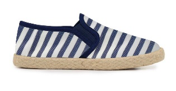 Maisonette- Kids' Childrenchic® Linen Slip-on Sneakers in Navy Stripes