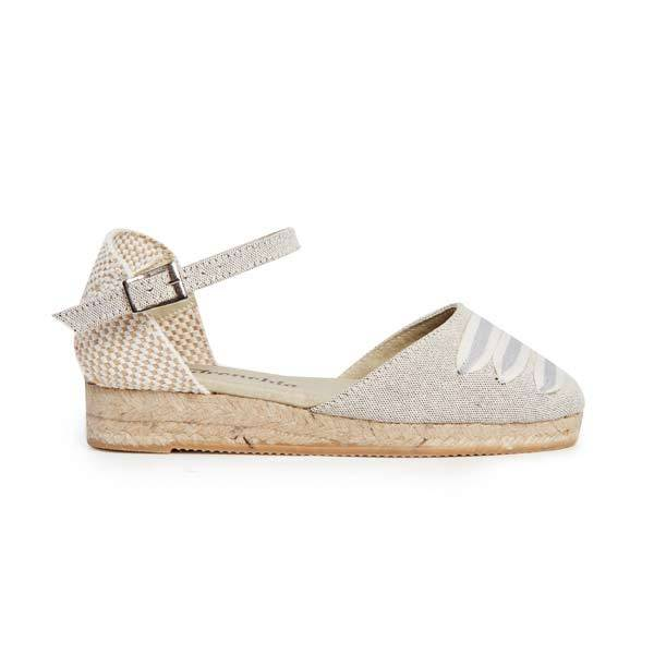 Girls' Childrenchic® Grey Canvas Espadrille Sandals with StripedWeave