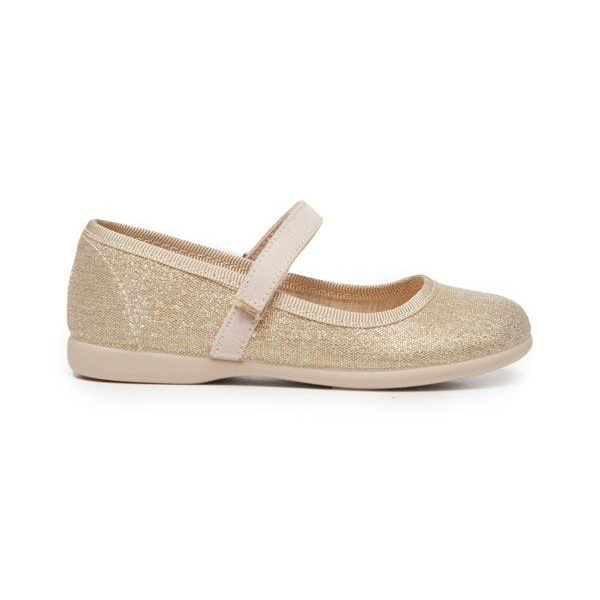 Girls' Childrenchic® Canvas Mary Janes in Shimmer Gold