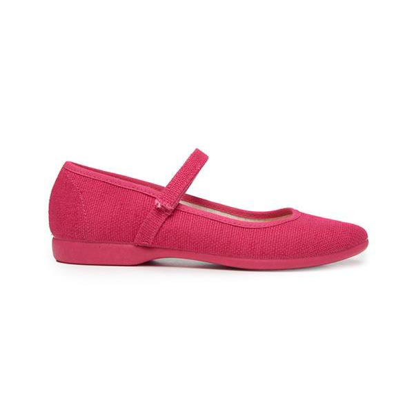Girls' Childrenchic® Canvas Mary Janes in Textured Fuxia